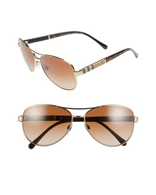 Burberry | Metallic 59mm Aviator Sunglasses | Lyst