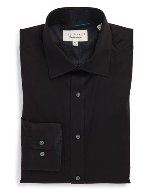 Ted Baker | Black 'oncore' Trim Fit Micro Stripe Dress Shirt for Men | Lyst