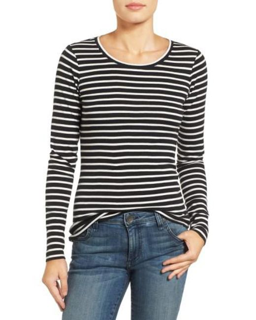 Caslon | Black Long-Sleeved Scoop Neck Cotton T-Shirt | Lyst