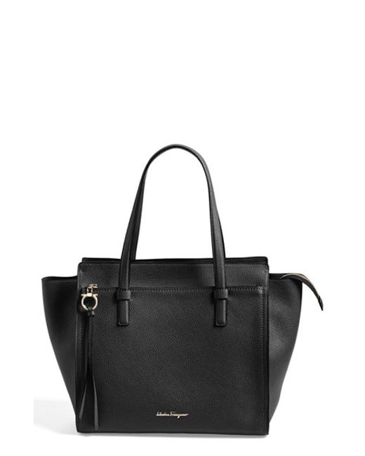 Ferragamo | Black 'fill Up - Large' Leather Tote | Lyst