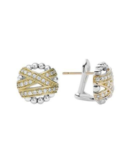 Lagos   Metallic 'diamonds & Caviar' Diamond Stud Earrings   Lyst