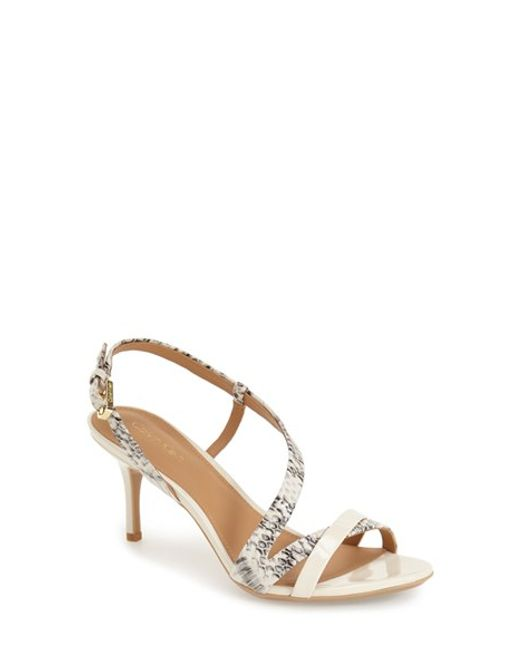 Calvin Klein | Metallic 'lorren' Leather Sandal | Lyst