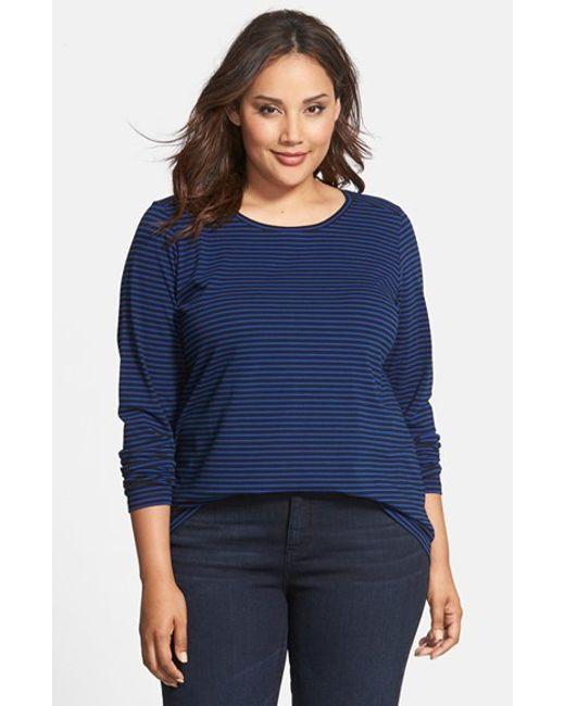 Sejour | Blue Stripe Forward Shoulder Tee | Lyst