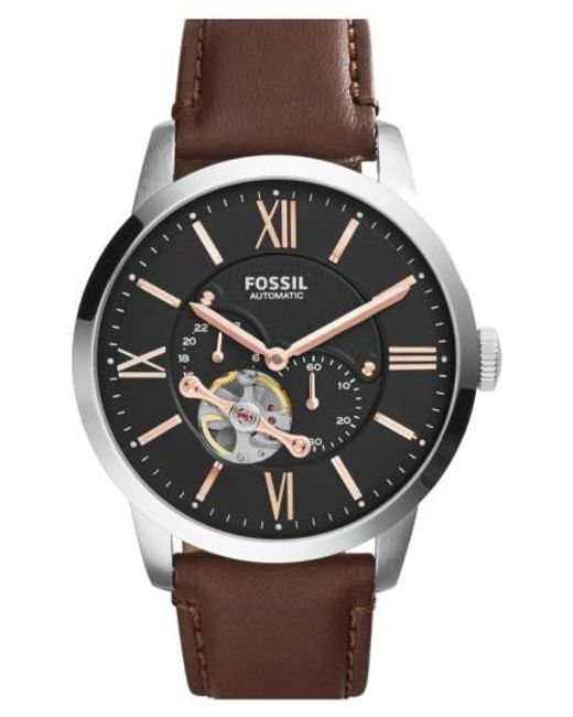 Fossil | Brown 'townsman' Automatic Leather Strap Watch for Men | Lyst