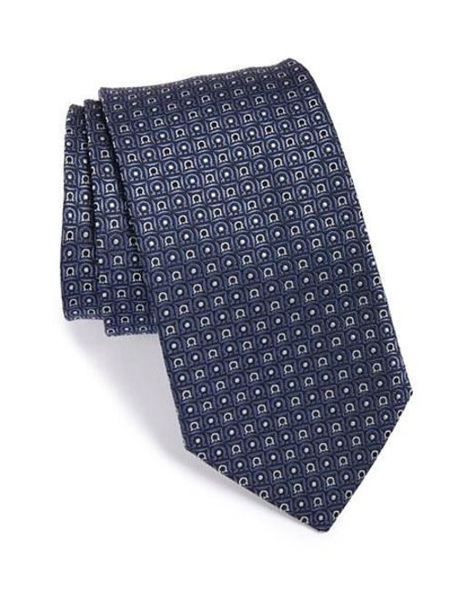 Ferragamo | Blue Gancini Print Silk Tie for Men | Lyst