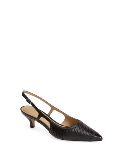 Trotters | Black 'kimberly' Woven Leather Slingback Pump | Lyst