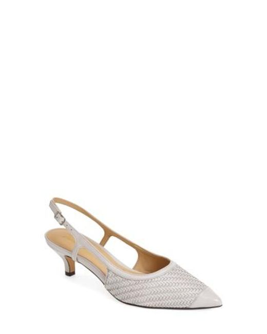 Trotters | Gray 'kimberly' Woven Leather Slingback Pump | Lyst