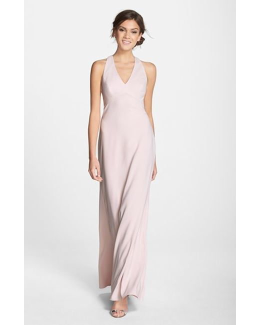 Dessy Collection | Pink Back Cutout Crepe Gown | Lyst