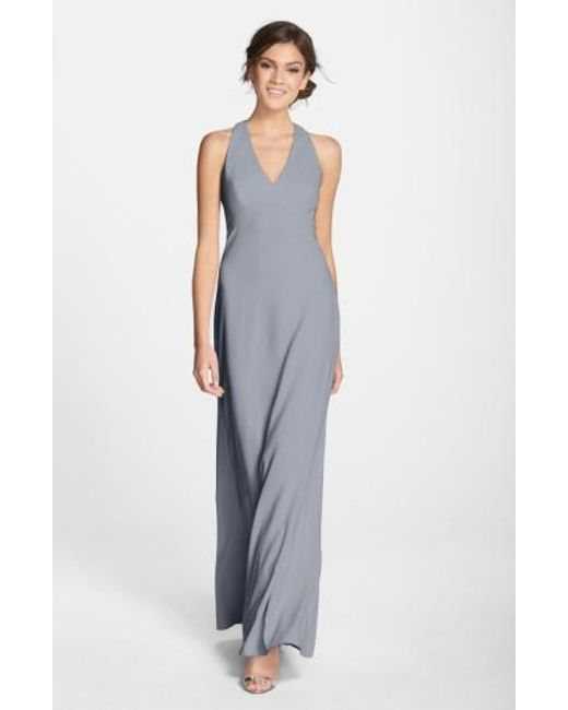 Dessy Collection | White Back Cutout Crepe Gown | Lyst