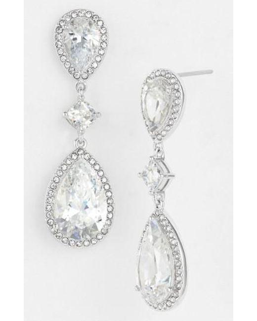 Nadri | Metallic Cubic Zirconia Drop Earrings | Lyst