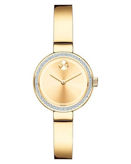 Movado | Metallic 'bold' Diamond Bezel Bangle Watch | Lyst