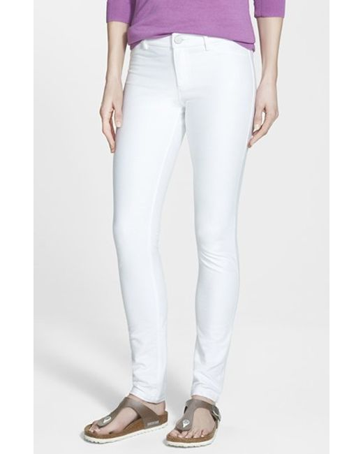 NIC+ZOE | White Denim Knit Skinny Jeans | Lyst
