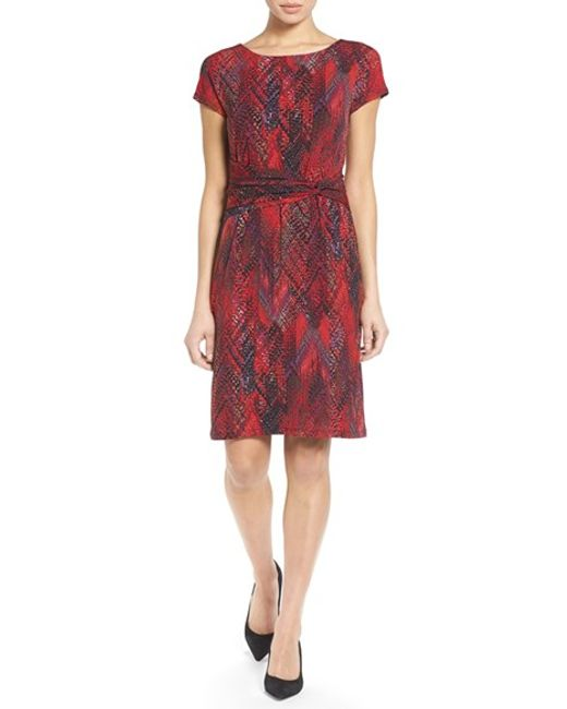 Ellen Tracy | Green Print Jersey Sheath Dress | Lyst