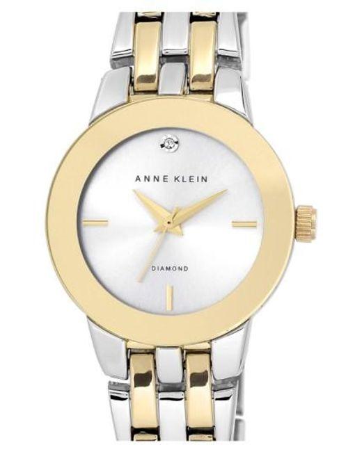 Anne Klein | Metallic Diamond Accent Bracelet Watch | Lyst