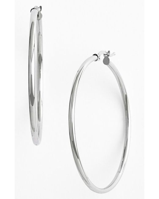 Bony Levy | White 14k Gold Hoop Earrings (nordstrom Exclusive) | Lyst