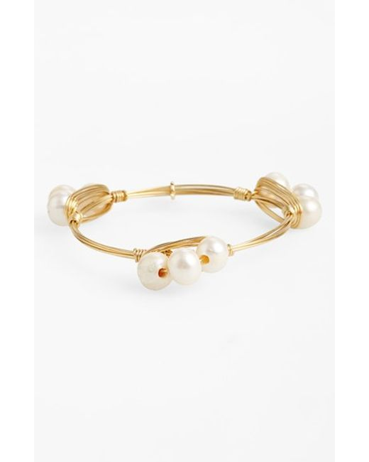 Bourbon and Boweties | Metallic Small Faux Pearl Bracelet | Lyst