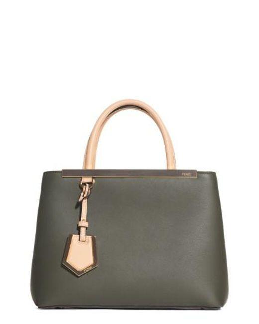 Fendi   Green 2jours Leather Shopper   Lyst