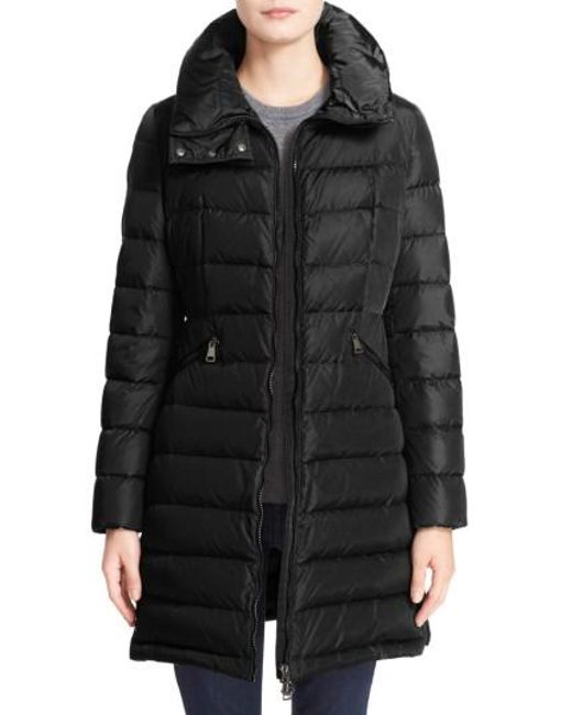 Moncler | Black 'Flammette' Long Hooded Down Coat | Lyst
