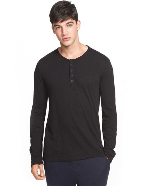 ATM | Black Raw Edge Henley for Men | Lyst