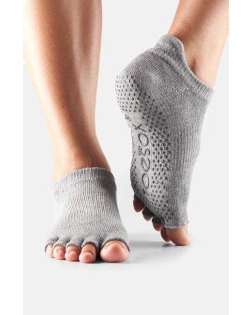 ToeSox   Gray Low Rise Half-toe Gripper Socks   Lyst