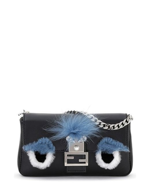 Fendi | Blue Micro Monster Leather Baguette Bag - Black | Lyst