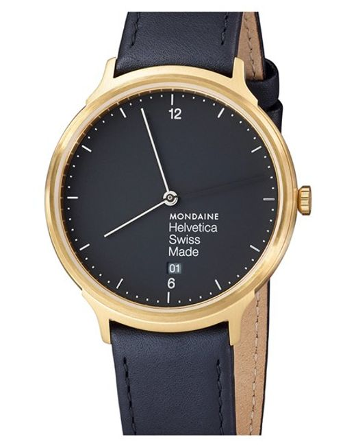 Mondaine | Black 'helvetica No.1 Light' Round Leather Strap Watch | Lyst