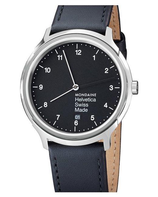 Mondaine | Black 'helvetica No.1 Regular' Round Leather Strap Watch | Lyst