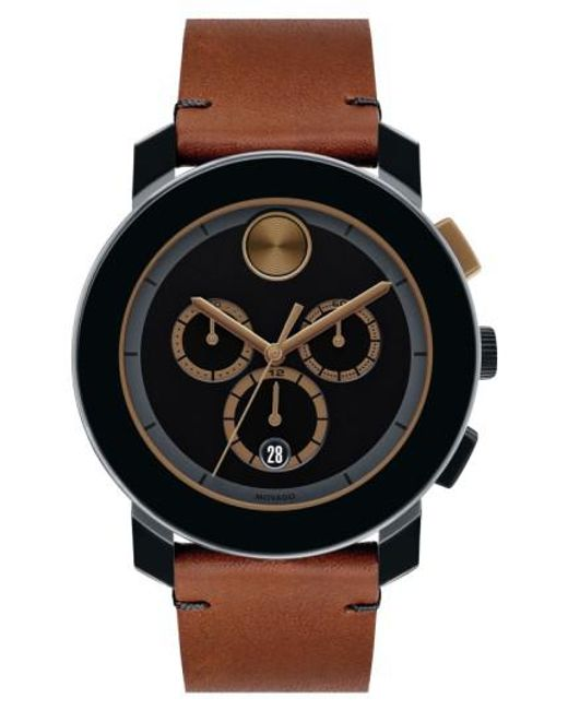 Movado | Brown 'bold' Chronograph Leather Strap Watch for Men | Lyst