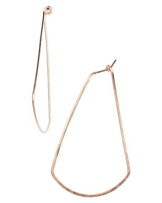 Nashelle   Pink Ija Triangle Hoop Earrings   Lyst