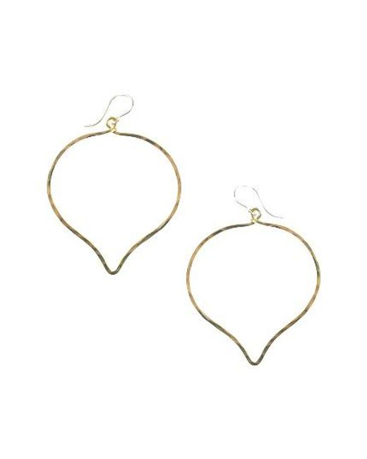 Nashelle | Metallic Ija 'large' Faceted Lotus Hoop Earrings | Lyst