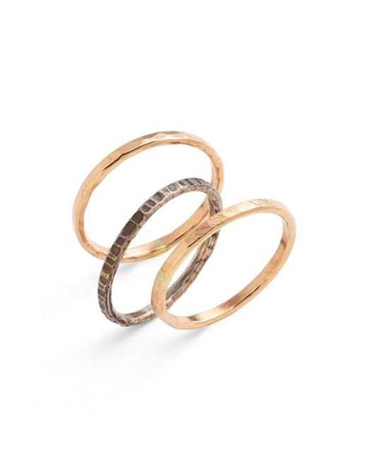Nashelle | Metallic Ija Stackable Hammered Rings (set Of 3) | Lyst