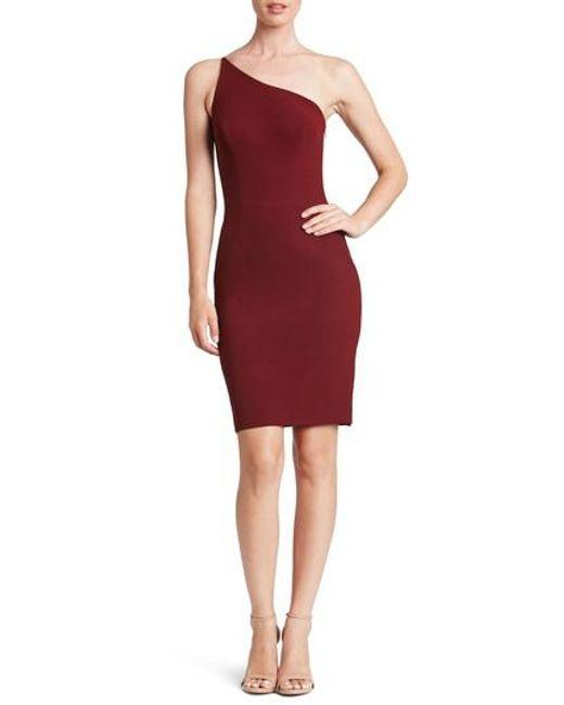 Dress the Population | Red Jennifer One-shoulder Body-con Dress | Lyst