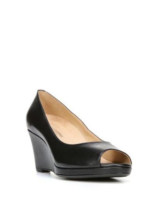Naturalizer | Black Olivia Peep Toe Wedge | Lyst