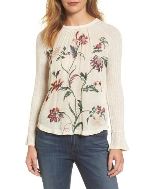 Lucky Brand | Natural Raglan Sleeve Embroidered Front Top | Lyst