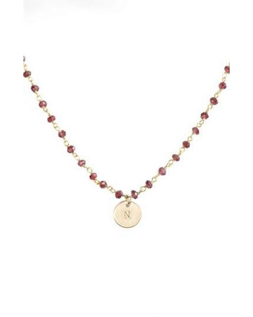 Nashelle | Metallic 14k-gold Fill Mini Initial Disc Garnet Chain Necklace | Lyst
