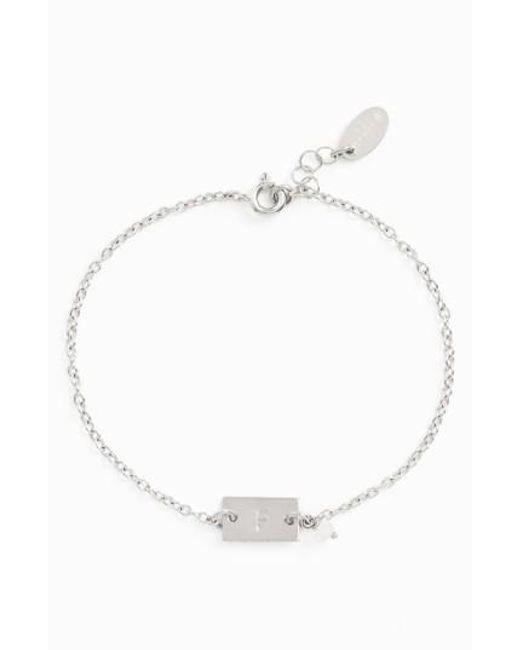 Nashelle | Metallic Shaka Initial Sterling Silver Bar Bracelet | Lyst