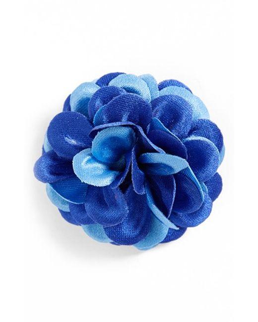 Hook + Albert   Blue Lapel Flower for Men   Lyst