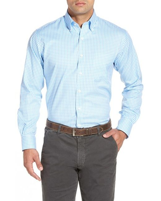 Peter Millar | Blue 'nanoluxe' Regular Fit Wrinkle Resistant Twill Check Sport Shirt for Men | Lyst