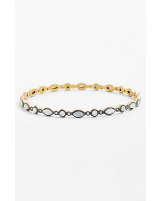Freida Rothman | Metallic 'metropolitan' Marquis Bangle - Gunmetal/ Mother Of Pearl | Lyst
