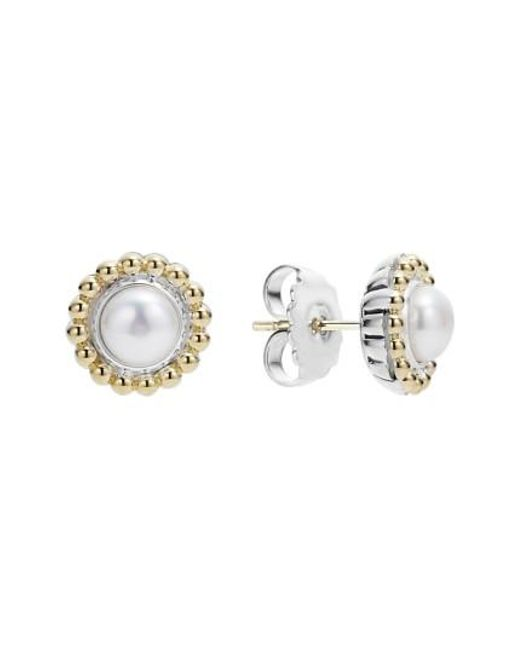 Lagos | White Stone Stud Earrings | Lyst