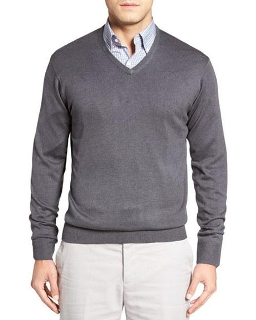 Peter Millar | Gray Silk Blend V-neck Sweater for Men | Lyst