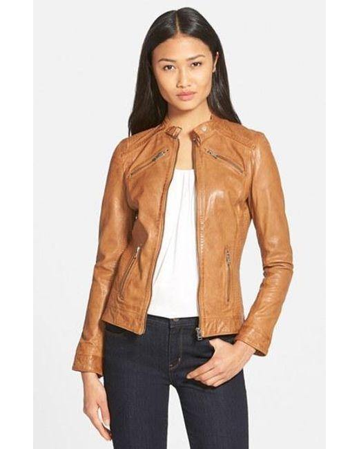 Lamarque | Brown Stitch Detail Lambskin Leather Jacket | Lyst