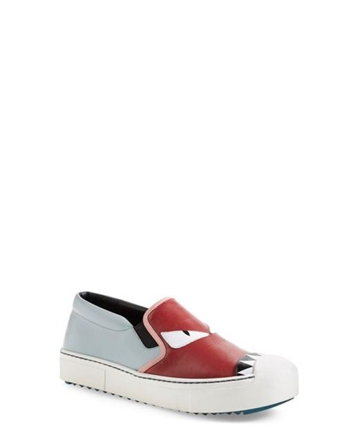Fendi | Red 20mm Monster Leather Slip-on Sneakers | Lyst