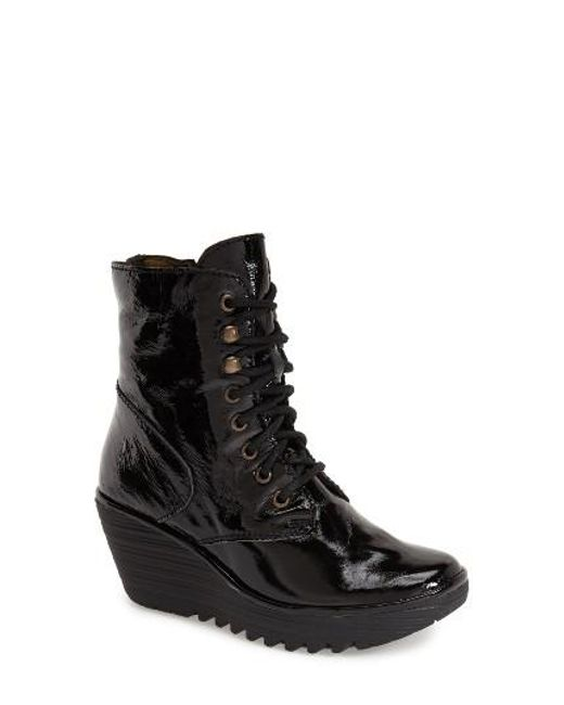 Fly London | Black 'ygot' Platform Wedge Boot | Lyst