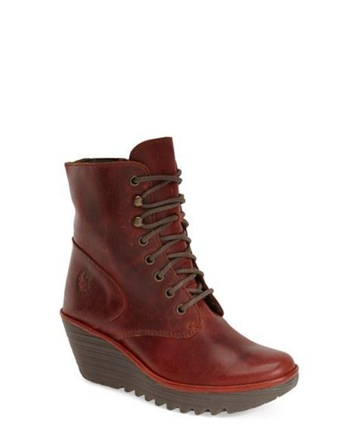 Fly London | Red 'ygot' Platform Wedge Boot | Lyst