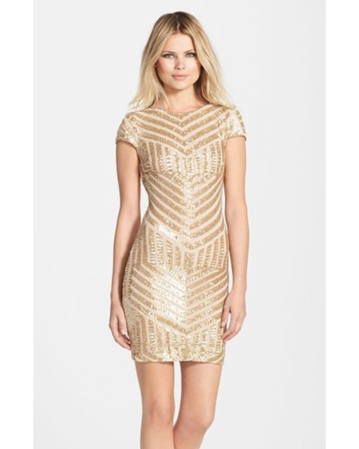 Dress the Population | Metallic 'Tabitha' Geometric Sequin Minidress | Lyst