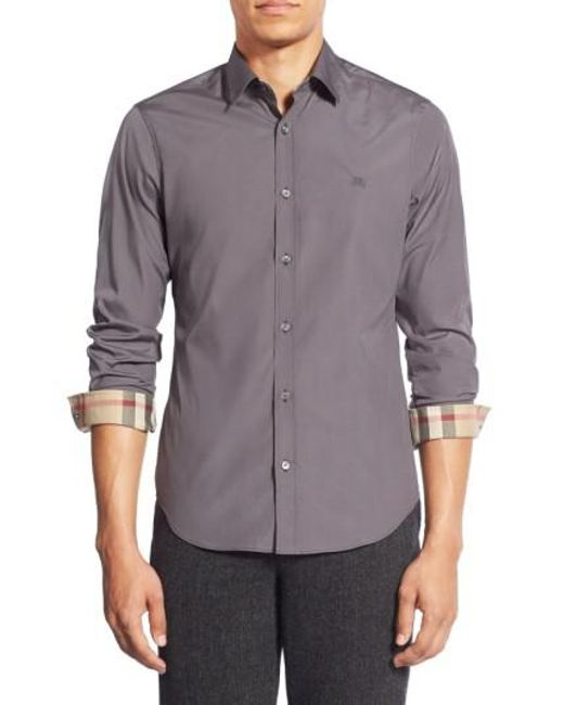 Burberry   Gray Cambridge Aboyd Stretch-Cotton Sport Shirt for Men   Lyst
