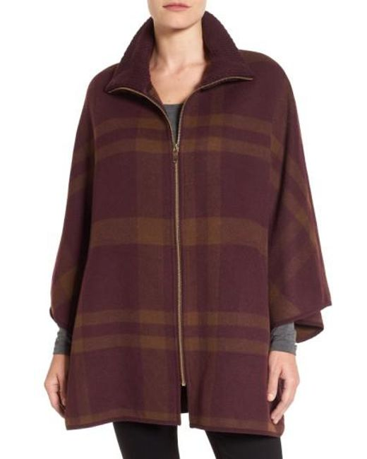 Via Spiga | Multicolor Zip Front Plaid Cape | Lyst