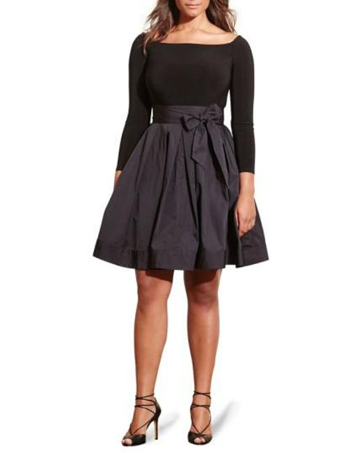 Lauren by Ralph Lauren | Black Jersey & Taffeta Party Dress | Lyst