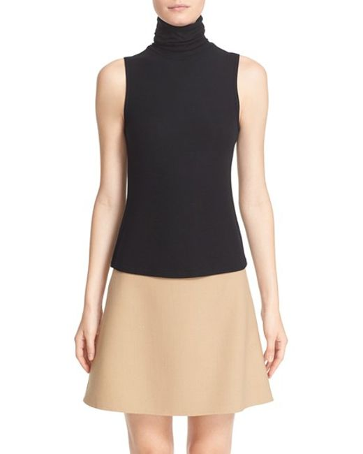Theory | Black 'wendel' Sleeveless Turtleneck Top | Lyst